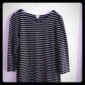 J Crew black and white striped dress M